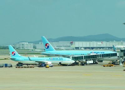 韓国・仁川国際空港に並ぶ大韓航空の機体